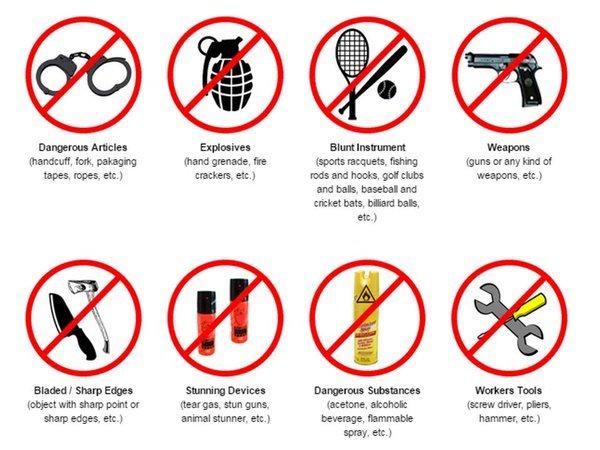 Những vật dụng không được mang lên máy bay
